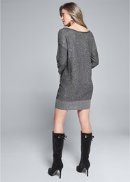 Back View Shimmer Detail Sweater Dress
