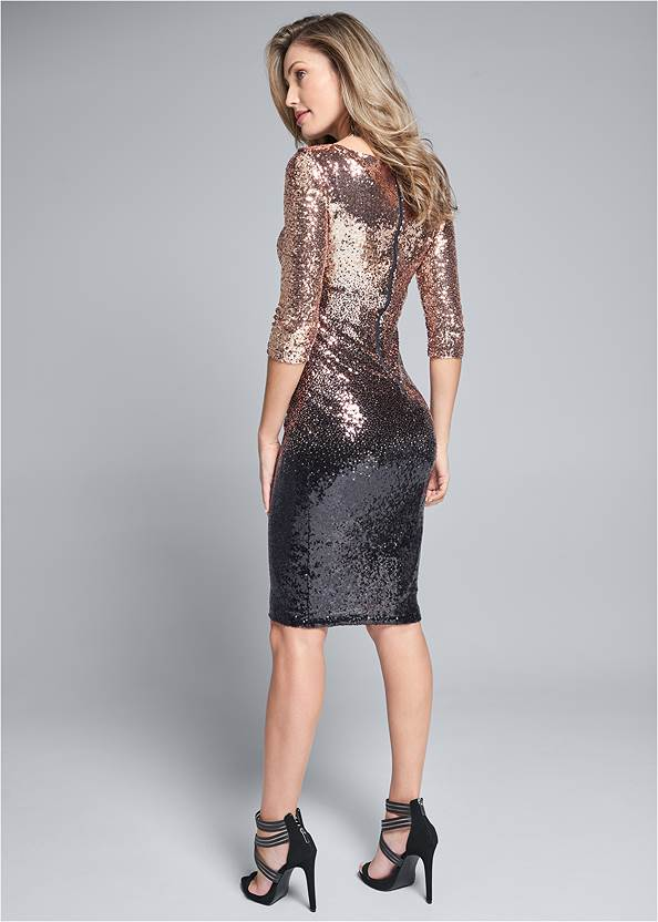 Back View Ombre Sequin Dress