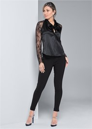 Full front view Lace Sleeve Tie Neck Blouse