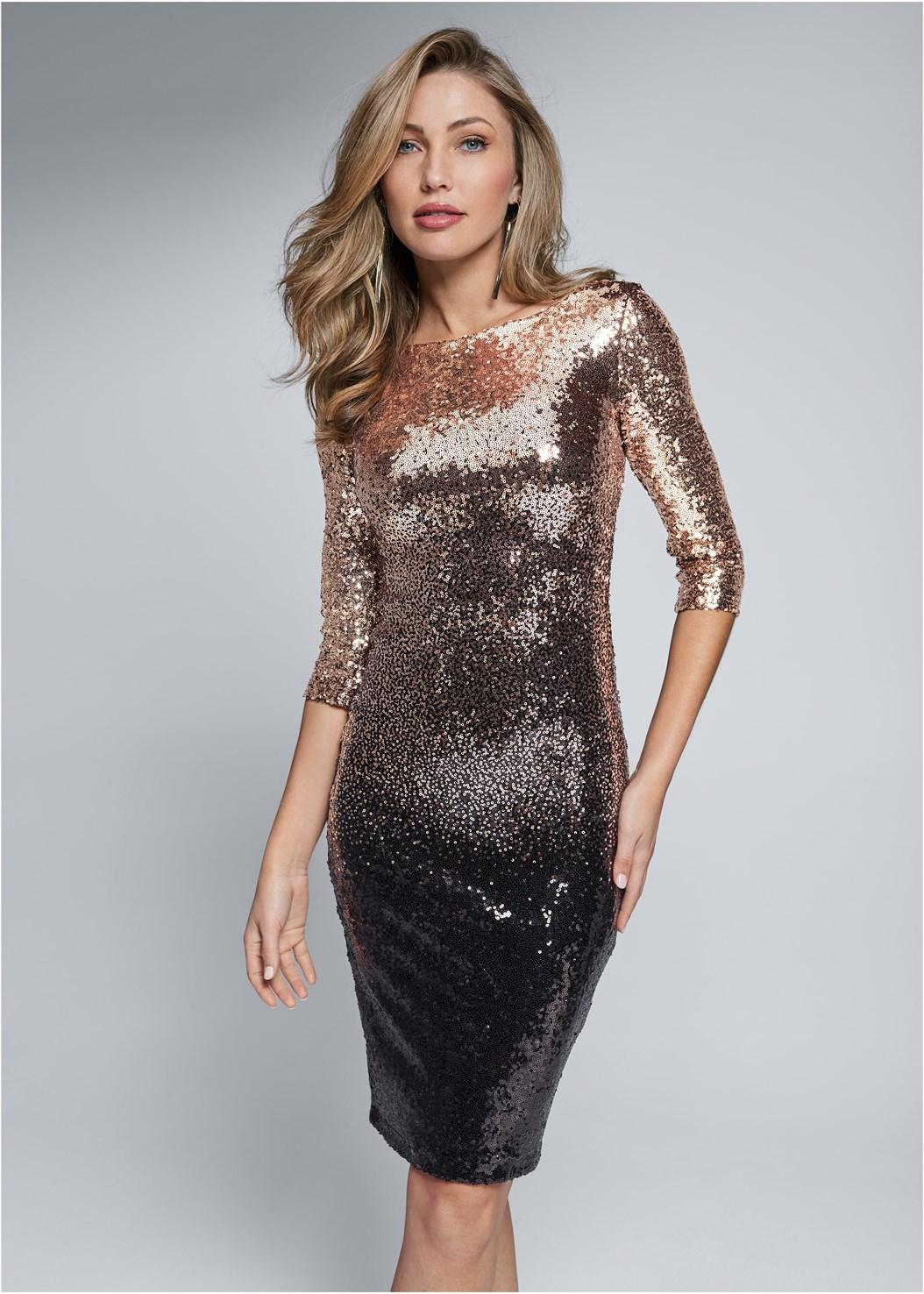 Ombre Sequin Dress,Kissable Convertible Bra,Shadow Stripe Heels,Mix Metal Tassel Earring