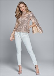 Full front view Sequin Mock Neck Top