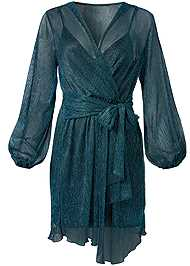Alternate View Shimmer Faux Wrap Dress
