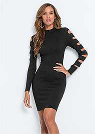 Full front view Sleeve Detail Bodycon Dress