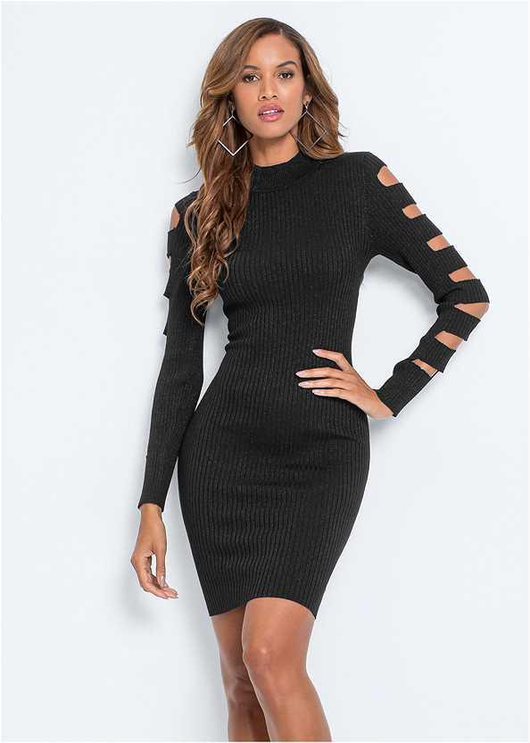 Sleeve Detail Bodycon Dress,Ankle Strap Heels,High Heel Strappy Sandals,Lace Tassel Choker Set
