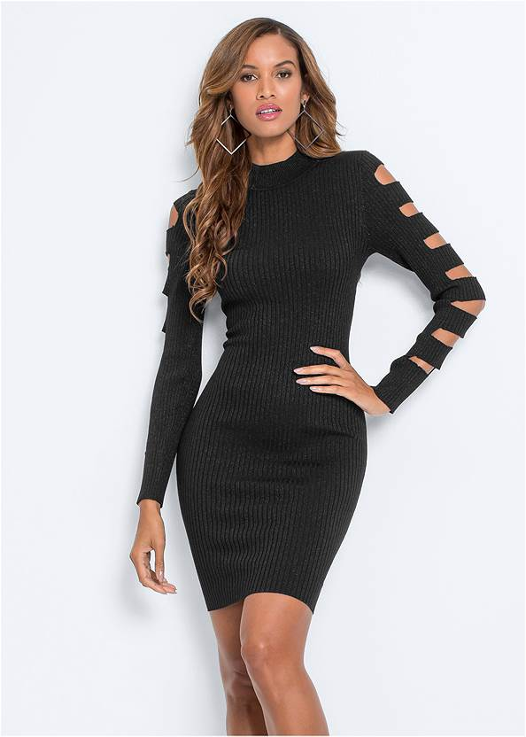 Sleeve Detail Bodycon Dress,Ankle Strap Heels