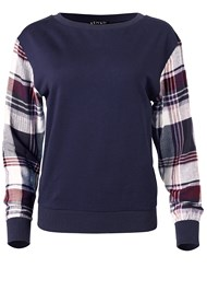Ghost with background  view Plaid Sleeve Sweatshirt