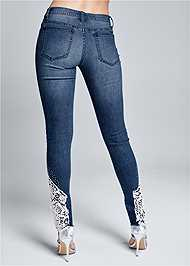 Back View Lace Inset Skinny Jeans
