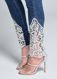 Alternate View Lace Inset Skinny Jeans