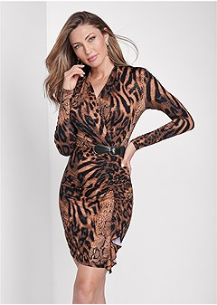 animal print ruched dress
