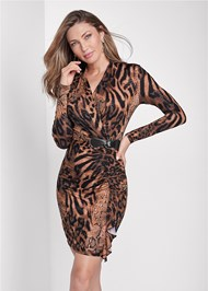 Cropped front view Animal Print Ruched Dress