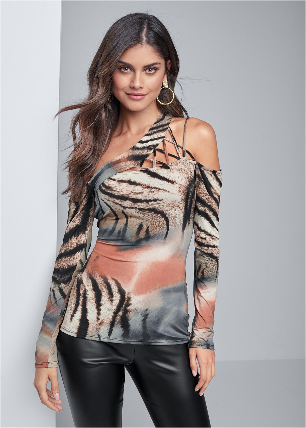 Animal Print Strappy Top,Faux Leather Leggings,Full Figure Strapless Bra,Lucite Strap Heels,Tiger Detail Earrings