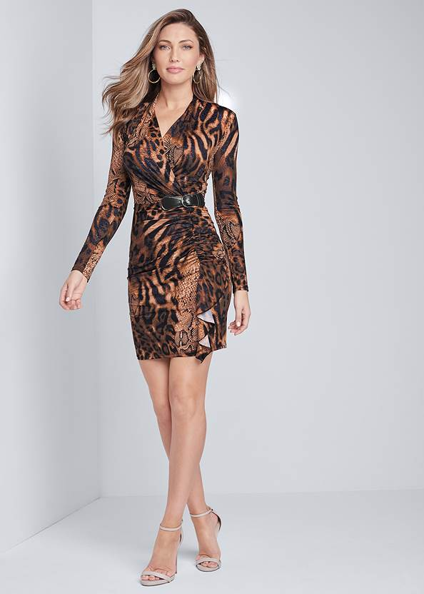 Alternate View Animal Print Ruched Dress