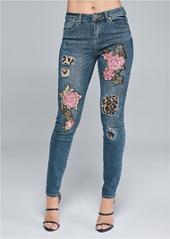 Front View Distressed Sequin Detail Skinny Jeans