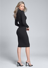 Back View Button Detail Midi Dress