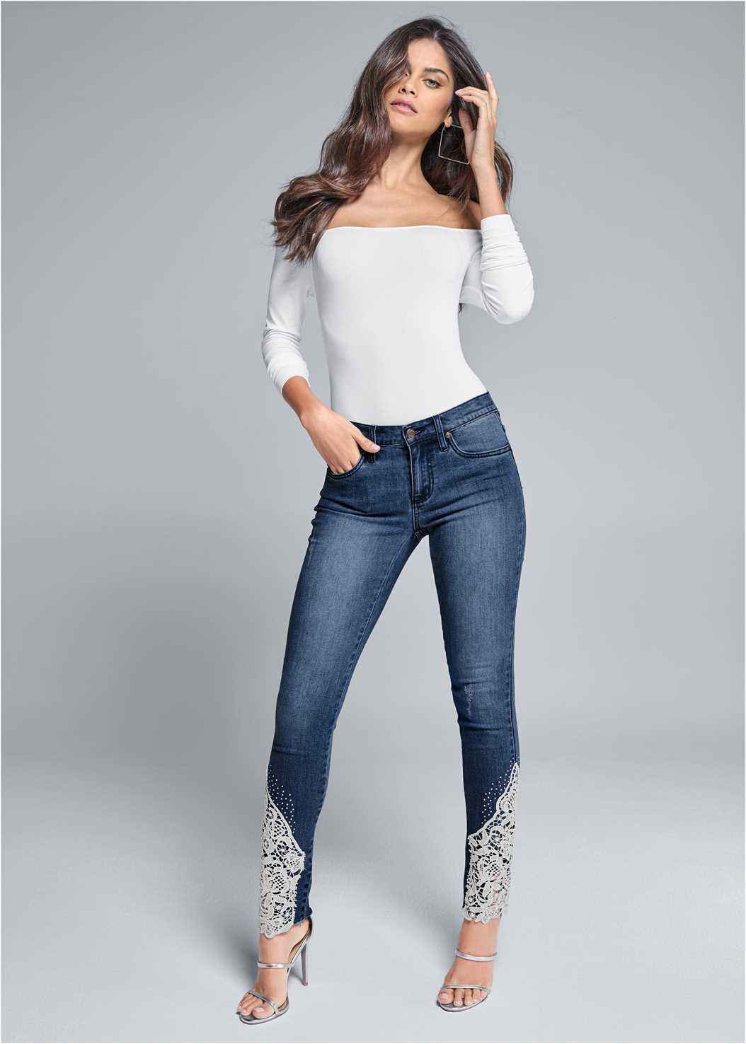 Lace Inset Skinny Jeans,Off The Shoulder Top,High Heel Strappy Sandals