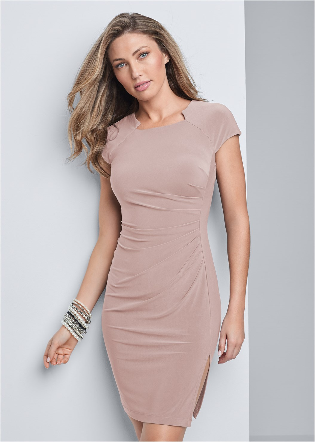 Ruched Dress,Naked T-Shirt Bra,Ankle Strap Heels