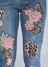 Alternate View Distressed Sequin Detail Skinny Jeans