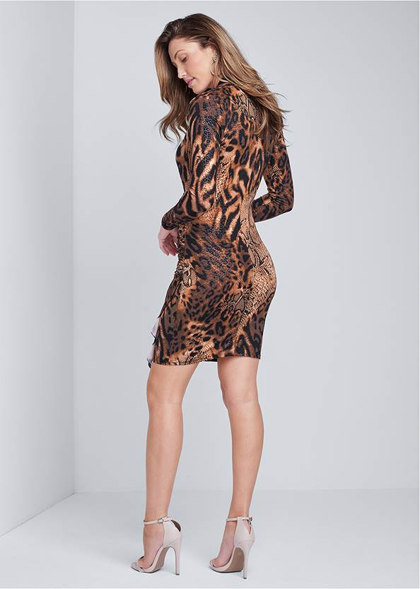 Back View Animal Print Ruched Dress