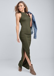 Front View High Neck Ruched Dress