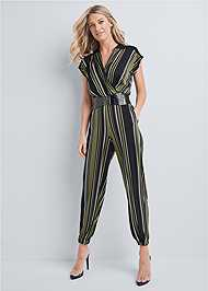 Front View Belted Stripe Jumpsuit