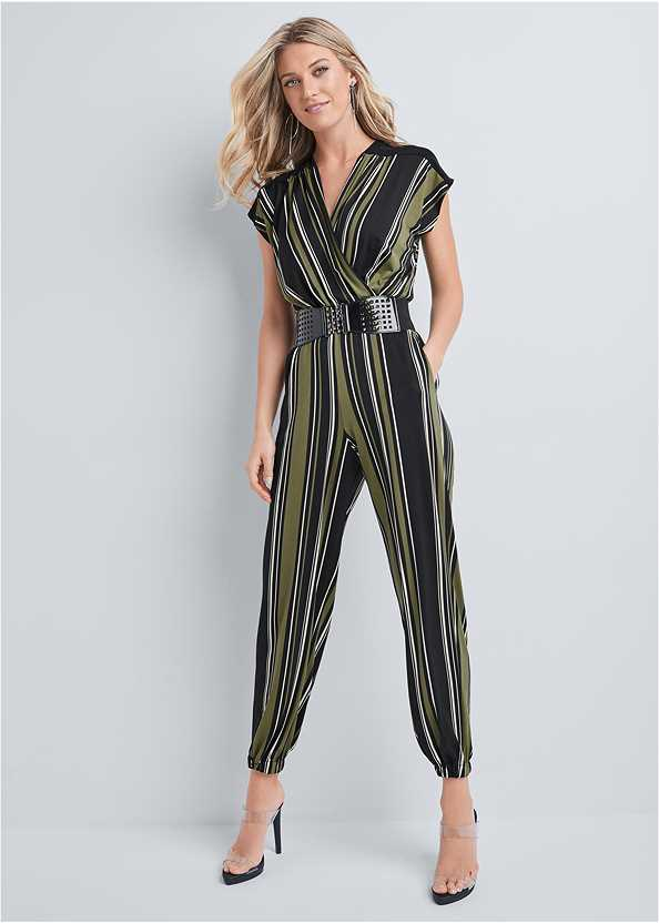 Belted Stripe Jumpsuit,Front Close Lace Back Bra