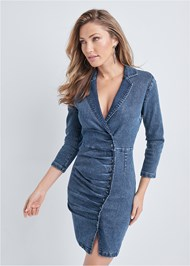 Front View Snap Detail Denim Dress