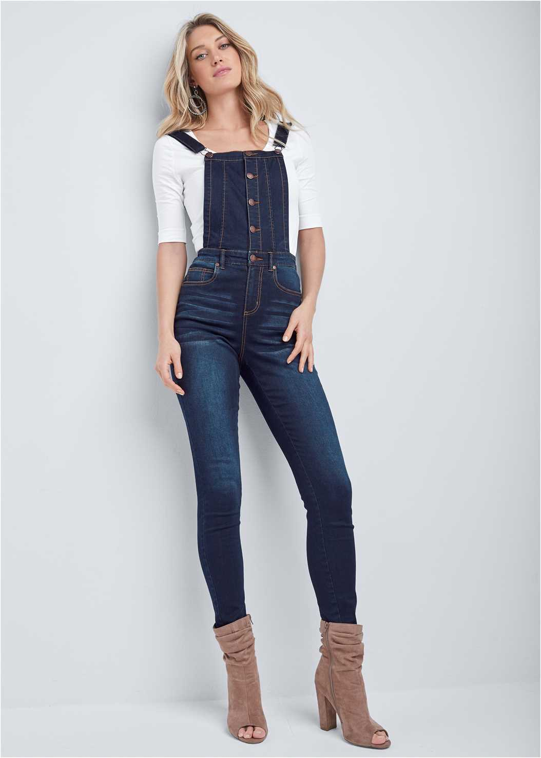 Denim Overalls,Long And Lean V-Neck Tee