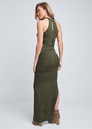 Back View High Neck Ruched Dress