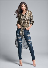 Front View Leopard High Low Top