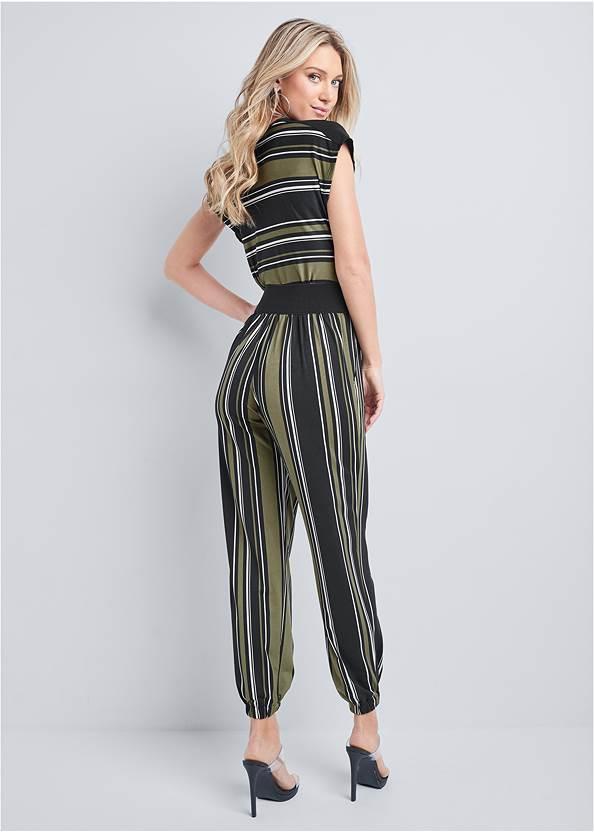 Back View Belted Stripe Jumpsuit