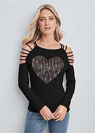 Cropped front view Embellished Heart Top