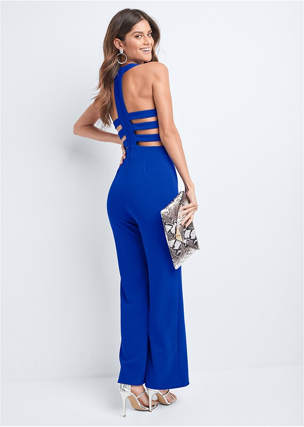 Strappy Back Jumpsuit,Venus Cupid Bra,High Heel Strappy Sandals,Python Clutch