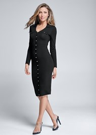 Front View Button Detail Midi Dress