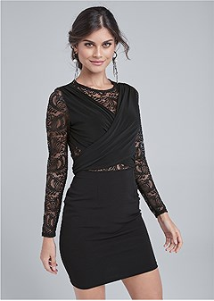 lace sleeve wrap detail dress