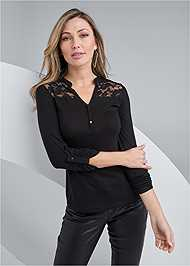 Front View Lace Detail Henley