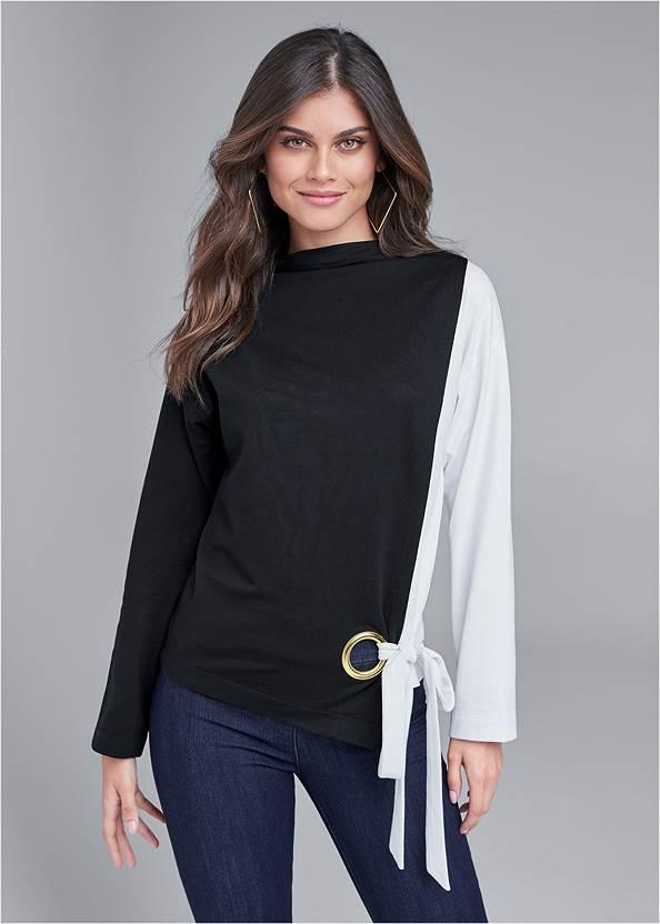 Front View Color Block Sweatshirt