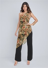 Full front view Printed Overlay Jumpsuit