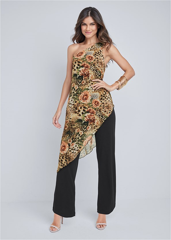 Printed Overlay Jumpsuit,Strapless Bra With Geo Lace,Ankle Strap Heels