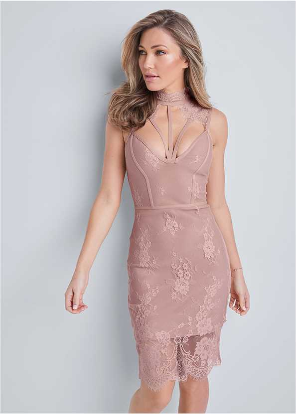 Lace Detail Bandage Dress,Cupid U Plunge Bra,Ankle Strap Heels