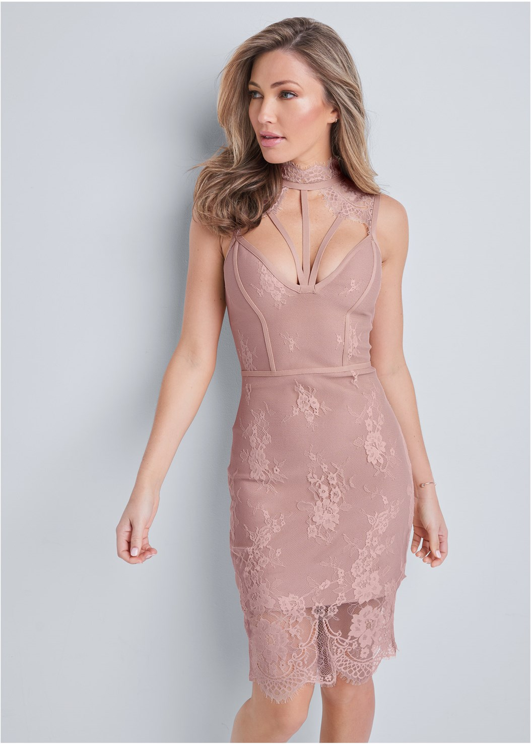 Lace Detail Bandage Dress,Cupid U Plunge Bra,Ankle Strap Heels