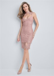 Full front view Lace Detail Bandage Dress