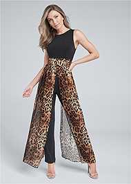 Front View Animal Overlay Jumpsuit