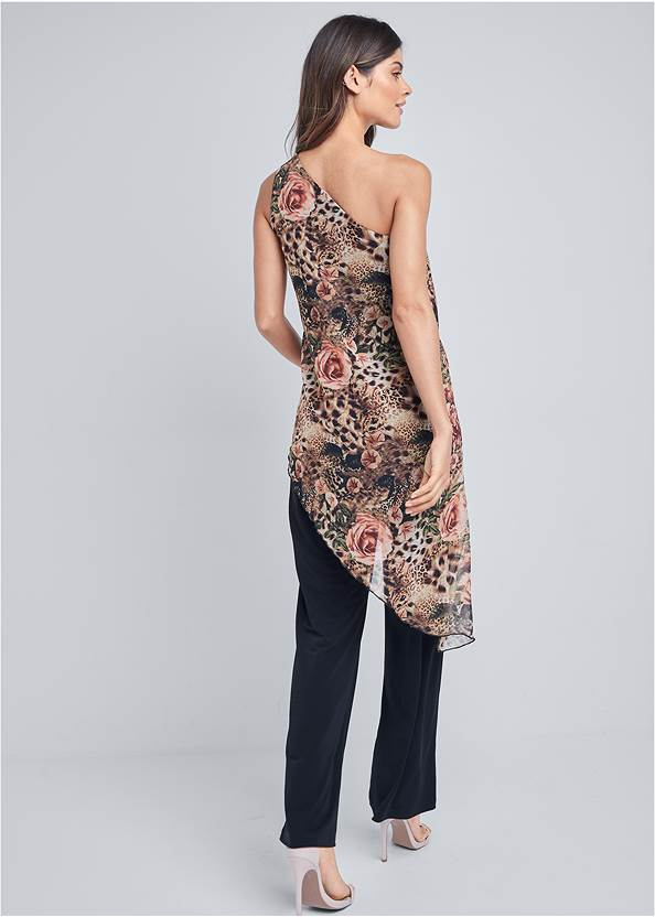 Full back view Printed Overlay Jumpsuit