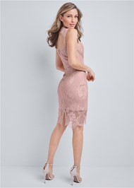 Full back view Lace Detail Bandage Dress