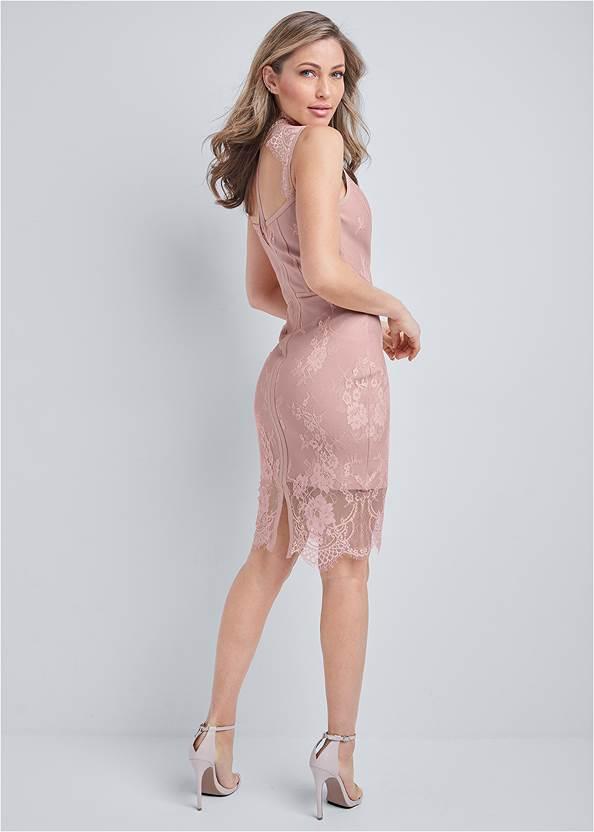 Full back view Lace Detail Bandage Dress