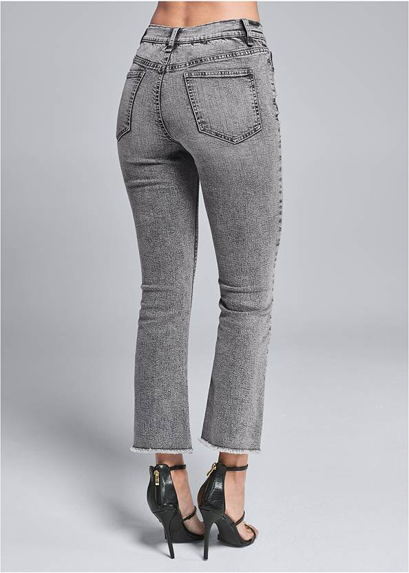 Back View Washed Kick Flare Jeans