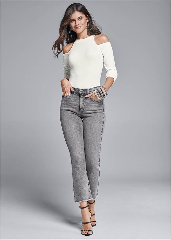 Washed Kick Flare Jeans,Ribbed Long Sleeve Top,High Heel Strappy Sandals,Hoop Detail Earrings