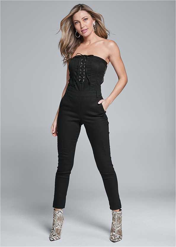 Lace Up Denim Jumpsuit,High Heel Strappy Sandals,Studded Belt Bag