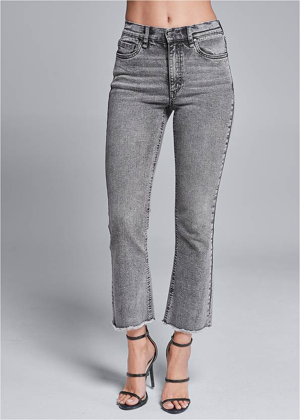 Front View Washed Kick Flare Jeans