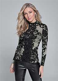 Front View Lace Mock Neck Top